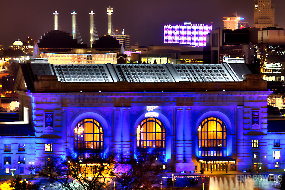 Downtown Kansas City's Union Station lit Royal Blue for Kansas City Royals' 2014 World Series run.