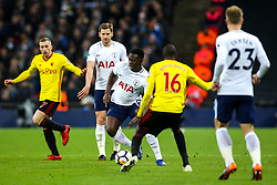 Victor Wanyama of Tottenham Hotspur takes on Abdoulaye Doucoure of Watford - Mandatory by-line: Robbie Stephenson/JMP - 30/04/2018 - FOOTBALL - Wembley Stadium - London, England - Tottenham Hotspur v Watford - Premier League