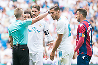 Real Madrid's Sergio Ramos and Theo Hernandez protest to the referee during La Liga match between Real Madrid and Levante UD at Santiago Bernabeu Stadium in Madrid, Spain September 09, 2017. (ALTERPHOTOS/Borja B.Hojas)