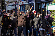 Kent anti racism network and friends celebrate after defending Dover against a  facist demonstration. 30th January 2016