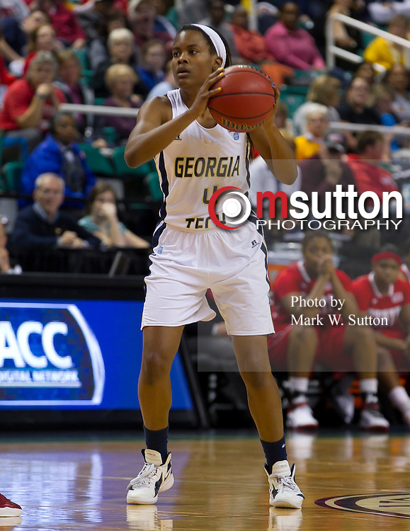 during their semifinal game between Georgia Tech and NC State in the 2012 ACC Women's Basketball Tournament in Greensboro, North Carolina.  Georgia Tech won 87 - 61.  March 03, 2012  (Photo by Mark W. Sutton)