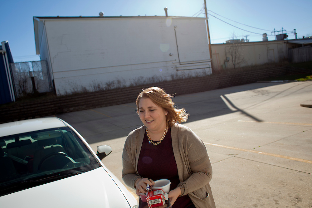 Horizons volunteer coordinator delivers a lunch to a Meals on Wheels client in Cedar Rapids, Iowa on Thursday, November 19, 2015. (Rebecca F. Miller/Freelance for The Gazette)