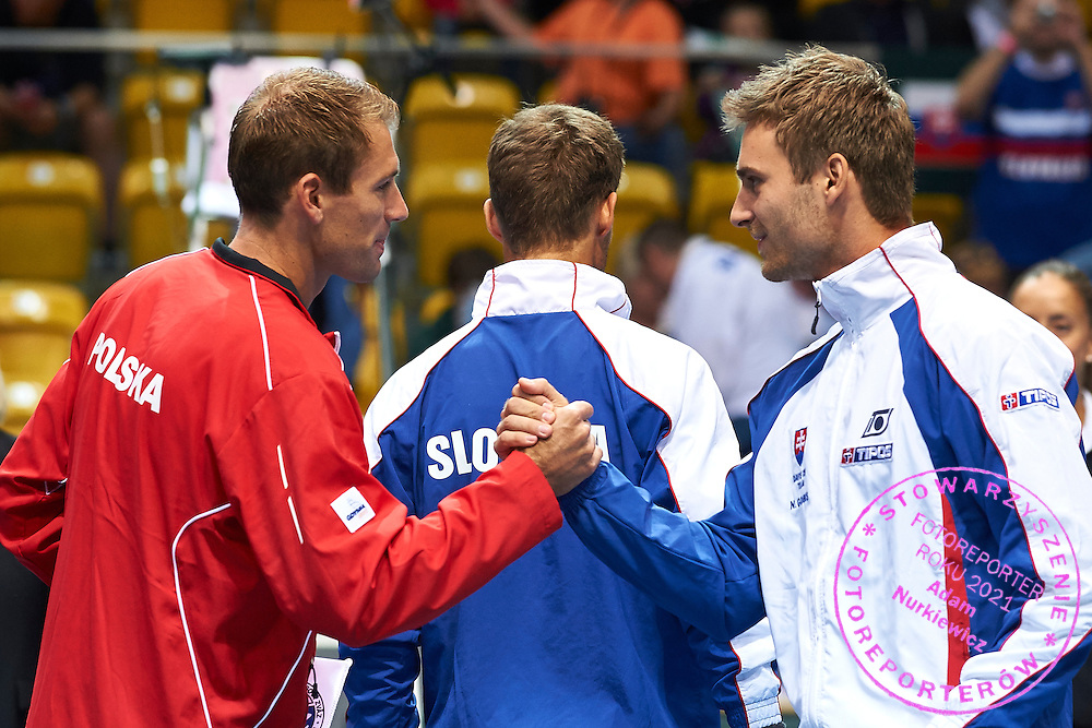(L) Lukasz Kubot of Poland and (R) Norbert Gombos of Slovakia during Davis Cup Tie World Group Play-off Poland v Slovakia at Gdynia Arena Hall in Gdynia, Poland.<br /> <br /> Poland, Gdynia, September 18, 2015<br /> <br /> Picture also available in RAW (NEF) or TIFF format on special request.<br /> <br /> For editorial use only. Any commercial or promotional use requires permission.<br /> <br /> Adam Nurkiewicz declares that he has no rights to the image of people at the photographs of his authorship.<br /> <br /> Mandatory credit:<br /> Photo by &copy; Adam Nurkiewicz / Mediasport