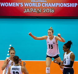 14-10-2018 JPN: World Championship Volleyball Women day 15, Nagoya<br /> China - United States of America 3-2 / Kimberly Hill #15 of USA, Rachael Adams #5 of USA