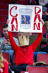"NORMAL, IL - January 29: Fan with an unknown comic mask with a ""Can Dan"" sign during a college basketball game between the ISU Redbirds and the University of Evansville Purple Aces on January 29 2020 at Redbird Arena in Normal, IL. (Photo by Alan Look)"