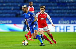 Riyad Mahrez of Leicester City takes on Conor McAleny of Fleetwood Town - Mandatory by-line: Robbie Stephenson/JMP - 16/01/2018 - FOOTBALL - King Power Stadium - Leicester, England - Leicester City v Fleetwood Town - Emirates FA Cup third round proper
