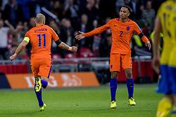 10-10-2017 NED: WK kwalificatie Nederland - Zweden, Amsterdam<br /> Oranje heeft Zweden met 2-0 verslagen. Het moest met zeven doelpunten verschil halen om nog kans te maken op plaatsing voor het WK. / Arjen Robben #11 of Netherlands scoort de 2-0, Kenny Tete #2 of Netherlands