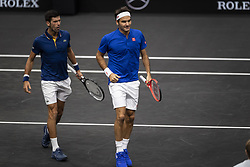 September 21, 2018 - Chicago, Illinois, U.S - Team Europe member ROGER FEDERER of Switzerland walks to the bench with his partner NOVAK DJOKOVIC of Serbia during the first doubles match on Day One of the Laver Cup at the United Center in Chicago, Illinois. (Credit Image: © Shelley Lipton/ZUMA Wire)