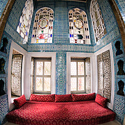 The Revan Kiosk at Topkapi Palace. The pavilion was built in 1635-36 to commerorate the Revan Campaign and victory of Murad IV. It is also known as the Sari Odasi, or Chamber of Turbans, because the turbans worn by sultans were kept here. Its colored marble decorations and tiles date to the 17th century. The Imperial Harem was the inner sanctum of the Topkapi Palace where the Sultan and his family lived. Standing on a peninsular overlooking the Bosphorus Strait and Golden Horn, Topkapi Palace was the primary residence of the Ottoman sultans for approximately 400 years (1465–1856) of their 624-year reign.