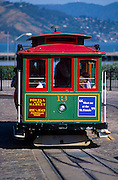 View of trolley, San Francisco, California. Public transit solely within the city of San Francisco is provided predominantly by the San Francisco Municipal Railway (Muni). The city-owned system operates both a combined light rail/subway system (the Muni Metro) and a bus network that includes both trolleybuses and standard diesel buses. The Metro streetcars run on surface streets in outlying neighborhoods but underground in the downtown area. Additionally, Muni runs the highly-visible F Market historic streetcar line, which runs on surface streets from Castro Street to Fisherman's Wharf, and the iconic San Francisco cable car system...Subject photograph(s) are copyright Edward McCain. All rights are reserved except those specifically granted by Edward McCain in writing prior to publication...McCain Photography.211 S 4th Avenue.Tucson, AZ 85701-2103.(520) 623-1998.mobile: (520) 990-0999.fax: (520) 623-1190.http://www.mccainphoto.com.edward@mccainphoto.com.