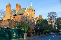 Jimmy Page's Grade I listed Tower House with Robbie Williams' property that he bought from the late film Director Michael Winner in the background in Melbury Road, where Led Zeppelin guitarist Page and Solo mega-star and former Take That member Williams are locked in a bitter planning dispute over Williams' plans for an 'iceberg' basement under his home in West London's posh Holland Park. London, December 17 2018.