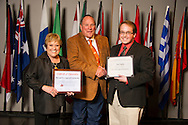 Vinita native Tim Taylor (right), an agricultural education major, receives an Oklahoma State University Win and Kay Ingersoll Scholarship from Win and Kay Ingersoll (left) at the university's recent College of Agricultural Sciences and Natural Resources Scholarships and Awards Banquet. The scholarship is part of more than $1.4 million in scholarships and awards presented to CASNR students for the 2016-2017 academic year. (Photo by Todd Johnson)