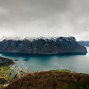 Aurlandsfjord from the Stegastein viewpoint near the village of Flåm in Norway