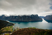 Aurlandsfjord from the Stegastein viewpoint near the village of Flåm in Norway
