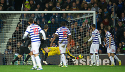 LONDON, ENGLAND - Sunday, December 30, 2012: Liverpool's Daniel Agger scores the third goal against Queens Park Rangers during the Premiership match at Loftus Road. (Pic by David Rawcliffe/Propaganda)