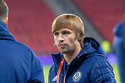Maksim Fedin (#20) of Kazakhstan ahead of the UEFA European 2020 Qualifier match between Scotland and Kazakhstan at Hampden Park, Glasgow, United Kingdom on 19 November 2019.