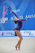 Alina Maksimenko during qualifying at clubs in Pesaro World Cup at the Adriatic Arena on 27 April, 2013.<br /> Alina is an Ukrainian individual rhythmic gymnast. She was born on July 10, 1991 in Zaporizhia, Ukraine.