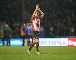Tom Nichols of Exeter City claps the home fans at full time. - Mandatory byline: Alex James/JMP - 08/01/2016 - FOOTBALL - St James Park - Exeter, England - Exeter City v Liverpool - FA Cup Third Round