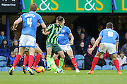 There's no way though for George Francomb of AFC Wimbledon during the Sky Bet League 2 match between Portsmouth and AFC Wimbledon at Fratton Park, Portsmouth, England on 15 November 2015. Photo by Stuart Butcher.