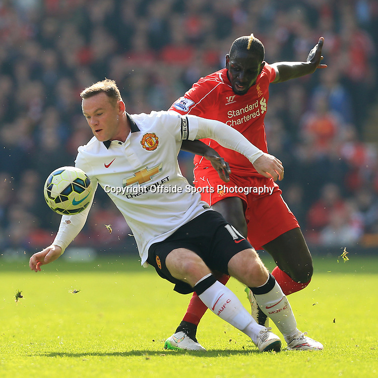 22nd March 2015 - Barclays Premier League - Liverpool v Manchester United - Wayne Rooney of Man Utd battles with Mamadou Sakho of Liverpool - Photo: Simon Stacpoole / Offside.
