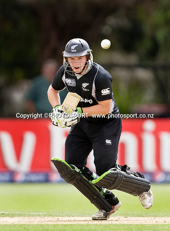 Tom Latham during his innings of 57 no for New Zealand. New Zealand v Zimbabwe, U19 Cricket World Cup group stage match, Bert Sutcliffe Oval, Lincoln, Tuesday 19 January 2010. Photo : Joseph Johnson/PHOTOSPORT