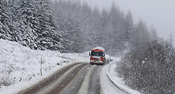 Winter is not finished in the West Highlands as a heavy snow storm sweeps the area. The A85 between Tyndrum and Dalmally was hit hard with the road conditions difficult for all vehicles ...... (c) Stephen Lawson | Edinburgh Elite media