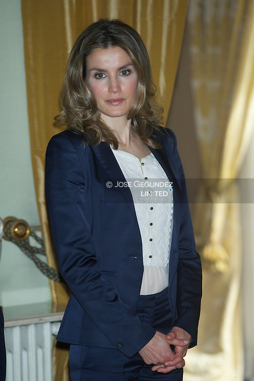 Prince Felipe and Princess Letizia attend a Meeting with the Portuguese personalities (social, cultural and business) at Residence of the Spanish ambassador in Lisbon on May 31, 2012 at the second of the couple's three-day visit to Portugal