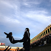 Yale cheerleaders in action during the Harvard Vs Yale, College Football, Ivy League deciding game, Harvard Stadium, Boston, Massachusetts, USA. 22nd November 2014. Photo Tim Clayton