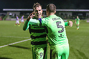 Forest Green Rovers Christian Doidge(9) scores a goal 3-2 and celebrates during the The FA Cup match between Forest Green Rovers and Exeter City at the New Lawn, Forest Green, United Kingdom on 2 December 2017. Photo by Shane Healey.