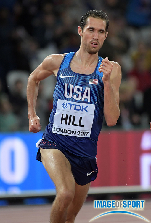 Aug 9, 2017; London, United Kingdom; Ryan Hill (USA) places fifth in 5,000m heat in 13:24.79 to advance to the final during the IAAF World Championships in Athletics at London Stadium at Queen Elizabeth Park.