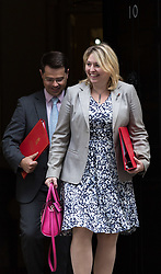 London, September 5th 2017. Secretary of State for Culture, Media and Sport Karen Bradley, followed by Northern Ireland Secretary James Brokenshire leaves the first UK cabinet meeting at Downing Street after the summer recess. ©Paul Davey