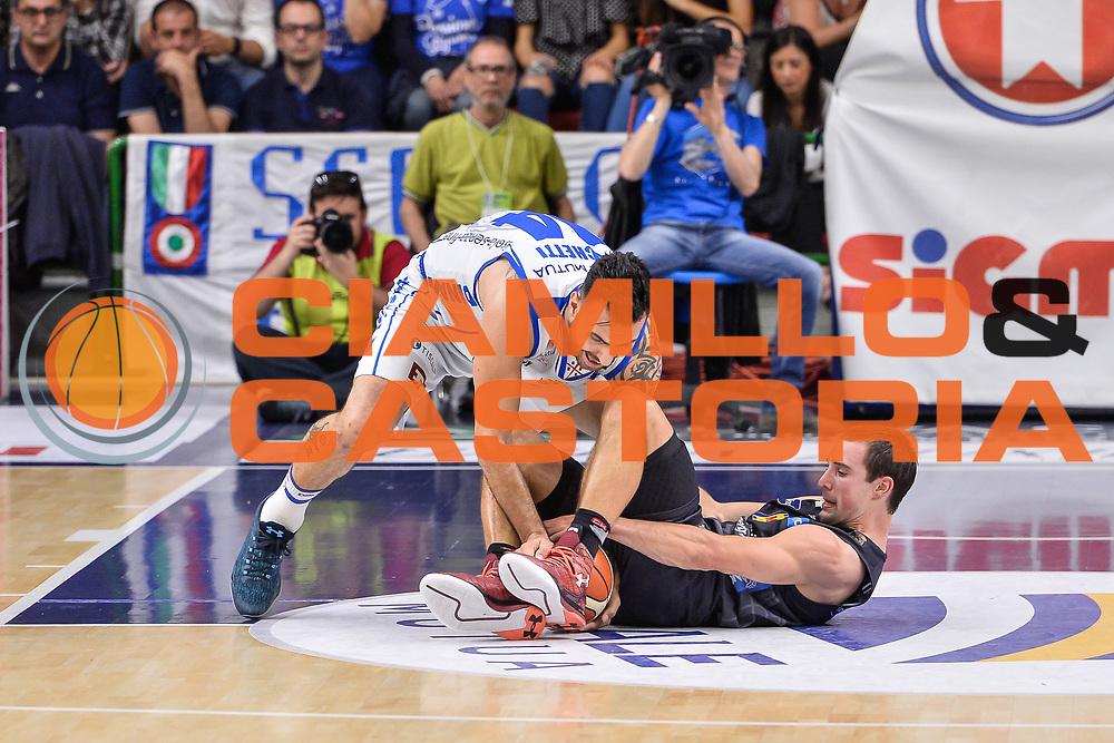Brian Sacchetti, Aaron Craft<br /> Banco di Sardegna Dinamo Sassari - Dolomiti Energia Aquila Basket Trento<br /> Legabasket Serie A LBA Poste Mobile 2016/2017<br /> Playoff Quarti Gara3<br /> Sassari 16/05/2017<br /> Foto Ciamillo-Castoria