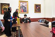 Nederland, Glane 24feb2015 De Patriarch Moran Mor Ignatius Ephrem II, de hoogste geestelijke leider van Syrisch-orthodoxe kerk (r) is op bezoek in Nederland. (uiterst links zijn secretaris en midden Mor Polycarpus Augin Aydin<br /> patriarchale vicarius van het<br /> Syrisch-Orthodoxe kerk<br /> in Nederland) De patriarch verblijft  tot 3 maart 2015 in het klooster in Glane (nabij Enschede) en zal van daaruit elf Nederlandse parochies bezoeken.