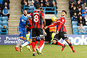 Shrewsbury Town FC forward George Waring (27) takes the ball down on his chest during the EFL Sky Bet League 1 match between Gillingham and Shrewsbury Town at the MEMS Priestfield Stadium, Gillingham, England on 28 January 2017. Photo by Andy Walter.