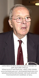 LORD MERLYN-REES at a luncheon in London on 20th April 2001.OND 23