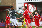 Accrington Stanley's Billy Kee(29) and Coventry City's Jordan Willis (4) during the EFL Sky Bet League 2 match between Accrington Stanley and Coventry City at the Fraser Eagle Stadium, Accrington, England on 14 October 2017. Photo by John Potts.
