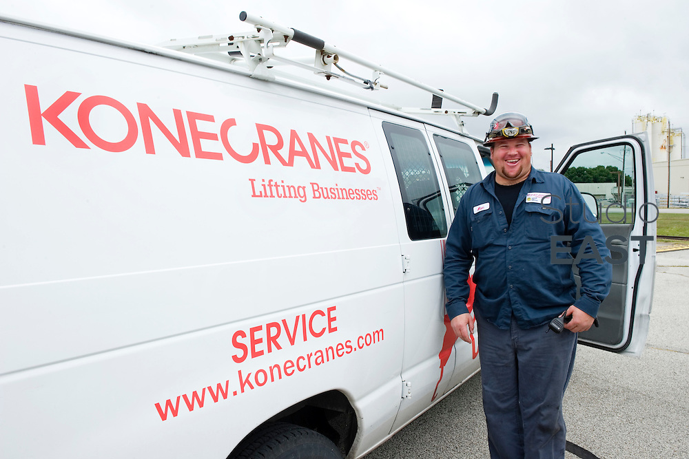KoneCranes' maintenance worker Alan O'Brien stands in front of his van, at the Alcoa plant, in Lafayette, Indiana, USA, on September 9, 2011. Photo by Lucas Schifres/Pictobank