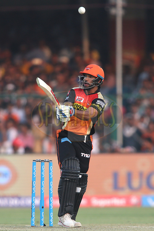 Shikhar Dhawan of the Sunrisers Hyderabad miss times his shot and loops the ball to James Faulkner of the Gujarat Lions during match 53 of the Vivo 2017 Indian Premier League between the Gujarat Lions  and the Sunrisers Hyderabad held at the Green Park Stadium in Kanpur, India on the 13th May 2017<br /> <br /> Photo by Shaun Roy - Sportzpics - IPL