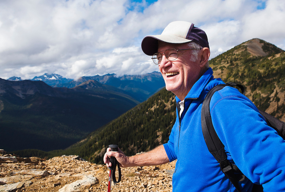 Portrait of a mature man hiking in the North Cascades of Washington State, USA.  Pacific Crest Trail.
