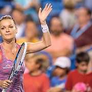 August 25, 2016, New Haven, Connecticut: <br /> Agnieszka Radwanska of Poland reacts after defeating Kirsten Flipkens during Day 7 of the 2016 Connecticut Open at the Yale University Tennis Center on Thursday, August  25, 2016 in New Haven, Connecticut. <br /> (Photo by Billie Weiss/Connecticut Open)