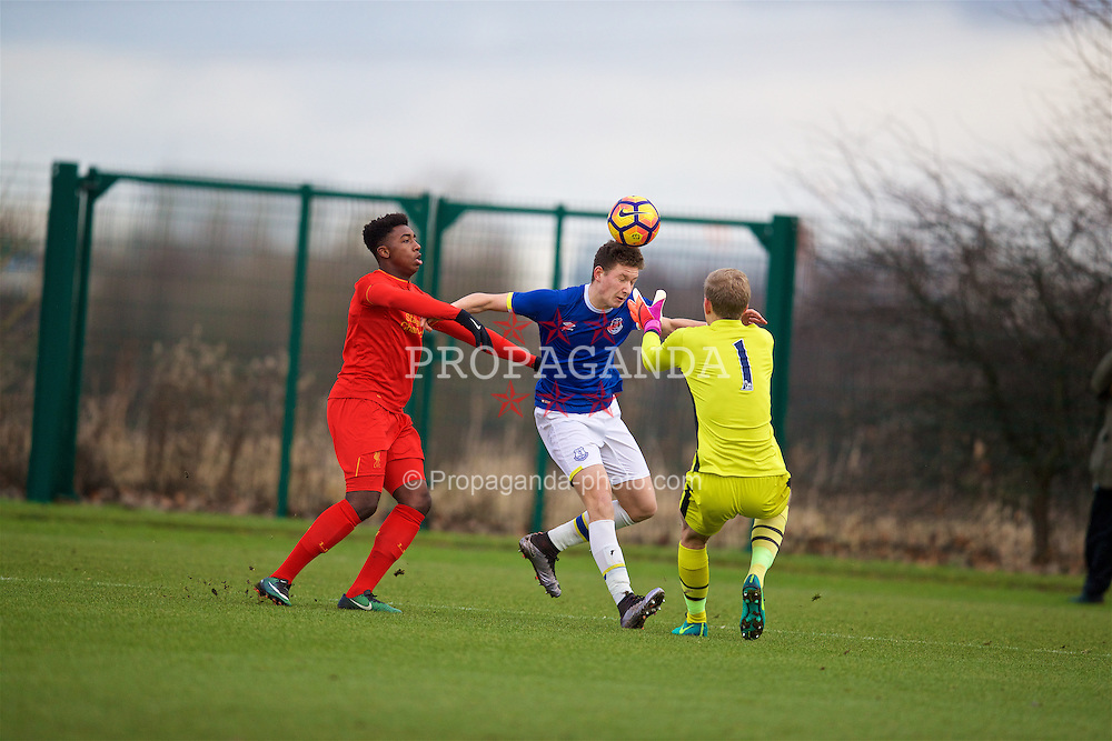 HALEWOOD, ENGLAND - Saturday, January 14, 2017: Liverpool's Okera Simmonds in action against Everton's Michael Collins [C] and goalkeeper Ben Pierce during an Under-18 FA Premier League match at Finch Farm. (Pic by David Rawcliffe/Propaganda)