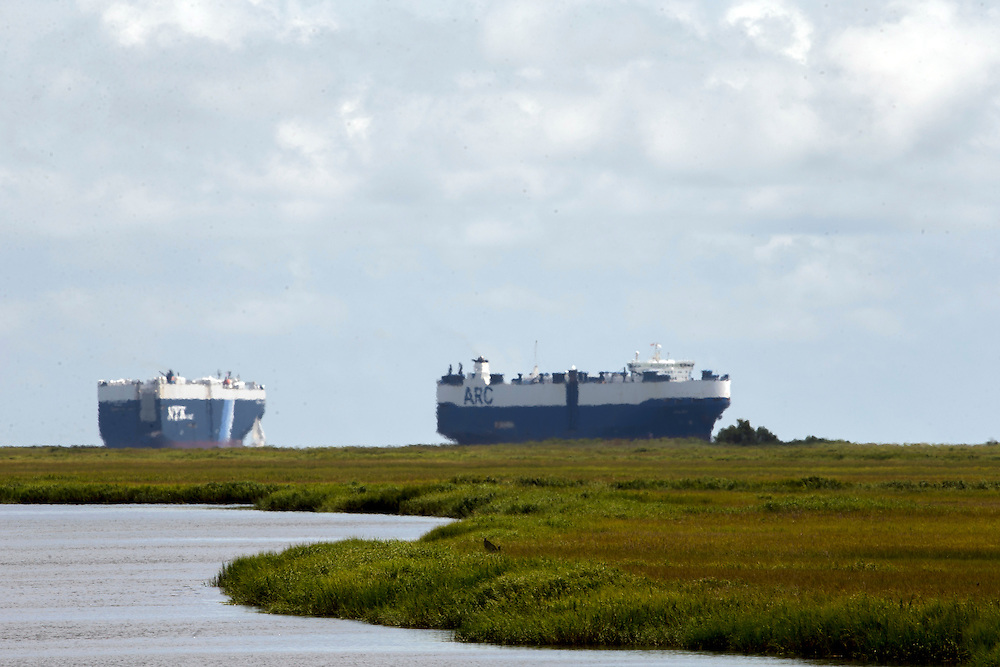 RORO vessels loading and unloading at Colonel's Island, Grain silos and warehouse and auto import/export at the Georgia Ports Authority Port of Brunswick, Saturday, Aug. 17 2015, in Brunswick, Ga.  (GPA Photo/Stephen B. Morton)