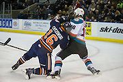 KELOWNA, CANADA - DECEMBER 27:  Kole Lind #16 of the Kelowna Rockets, Nick Chyzowski #16 of the Kamloops Blazers at the Kelowna Rockets game on December 27, 2016 at Prospera Place in Kelowna, British Columbia, Canada.  (Photo By Cindy Rogers/Nyasa Photography,  *** Local Caption ***