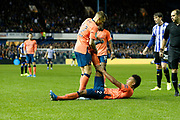 Lucas Digne of Everton helps Mason Holgate of Everton with cramp during the EFL Cup match between Sheffield Wednesday and Everton at Hillsborough, Sheffield, England on 24 September 2019.