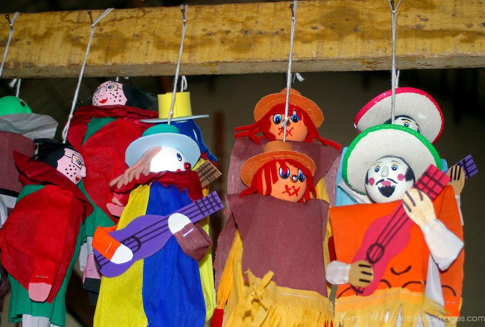 Americas, Emxico, Guanajuato. Handmade puppets for sale in the market of Guanajuato.