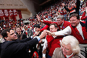 BLOOMINGTON, IN - FEBRUARY 4: Indiana Hoosiers head coach Tom Crean celebrates after a win against the Iowa Hawkeyes at Assembly Hall on February 4, 2009 in Bloomington, Indiana. (Photo by Joe Robbins)