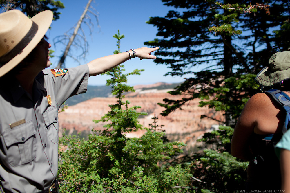 National Park Service ranger Russ Cash leads a wildflower hike at Cedar Breaks National Monument, Utah.