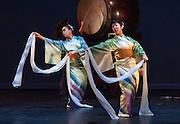 "Fujinami Kai dancers Kanchiye Fujima (left) and Michelle Sugahiro perform at the Portland Taiko concert ""Three: 3 conversations with Taiko"", Winningstad Theatre, Portland Center for the Performing Arts, Portland, Oregon."