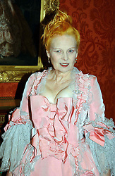 Fashion designer VIVIENNE WESTWOOD at a reception to open an exhibition entitled 'Boucher Seductive Visions' at The Wallace Collection, Manchester Square, London W1 on 29th September 2004.NON EXCLUSIVE - WORLD RIGHTS