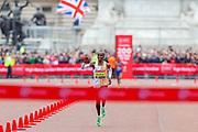 Eliud Kipchoge (Kenya) approaching the finish line in the Men's Elite race in the Virgin Money 2019 London Marathon, London, United Kingdom on 28 April 2019.